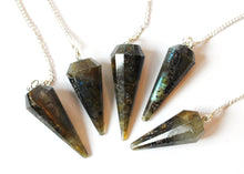 Load image into Gallery viewer, Labradorite Crystal Stone Pendulum On Chain