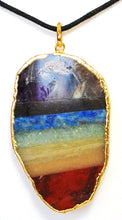 Load image into Gallery viewer, New! Natural Seven Chakra Slices Gold Electroplating Crystal Pendant Inc Cord Necklace