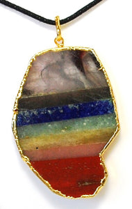 New! Natural Seven Chakra Slices Gold Electroplating Crystal Pendant Inc Cord Necklace