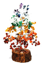 Load image into Gallery viewer, Natural Seven Chakra Crystal Types Gemstones Tree Inc Chakra Stones Wood Base