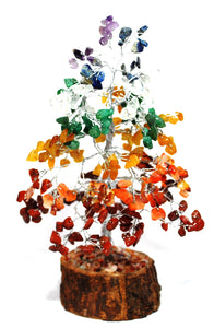 Natural Seven Chakra Crystal Types Gemstones Tree Inc Chakra Stones Wood Base