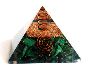 Malachite Large Crystal Stone Chips Orgone Pyramid