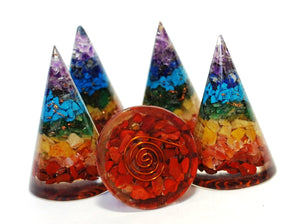 Natural Seven Crystals Stones Chakra Orgone Crystal Cone (Slight Seconds)