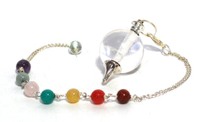 New! Clear Quartz Natural Polished Sphere Dowsing Chakra Pendulum