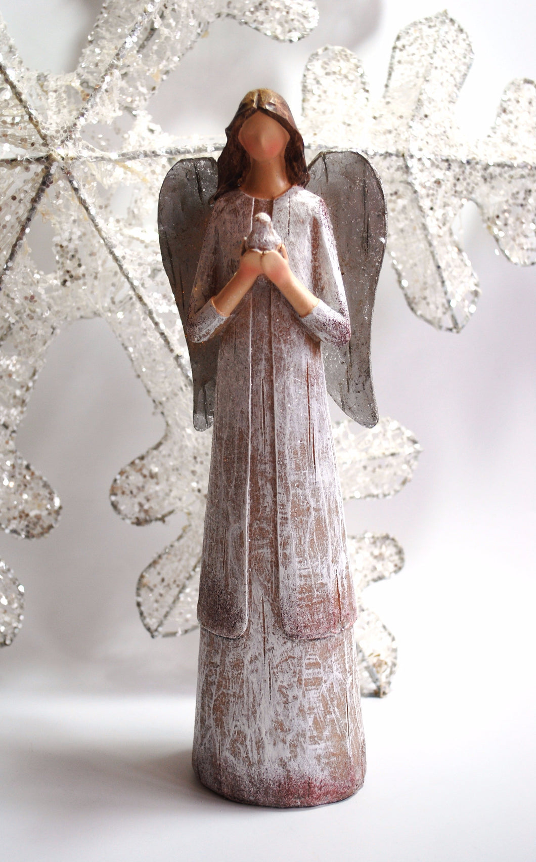 Large 29cm Angel Of Peace Statue Ornament Decorative Hand Carved Christmas Gift - Krystal Gifts UK