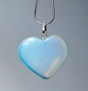 Opalite Heart Pendant Inc Silver Plated Snake Chain Gift Wrapped - Krystal Gifts UK