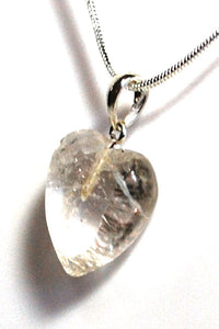 New! Smoky Quartz Natural Unique Polished Crystal Heart Pendant Necklace 925 Silver