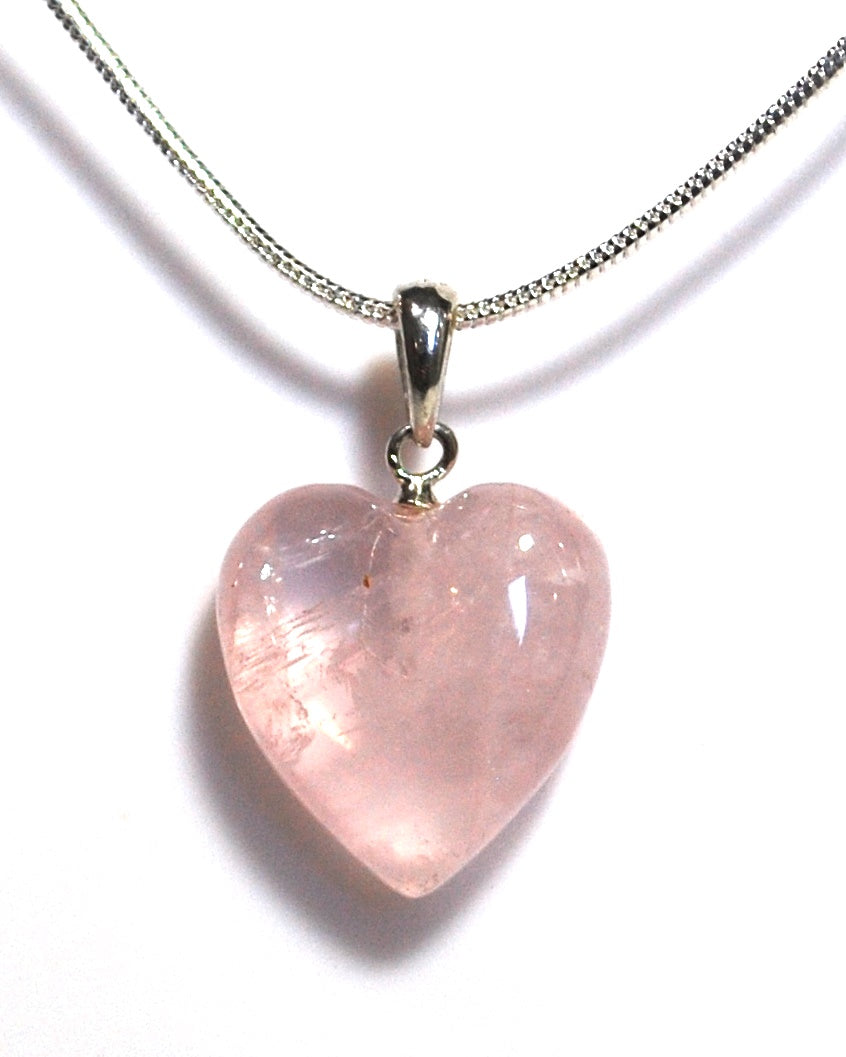 New! Rose Quartz Polished Small Heart Pendant Necklace 925 Sterling Silver