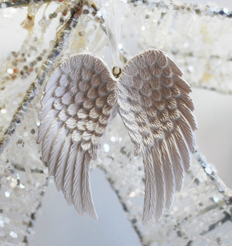 Beautiful White Angel Wings Hanging Decoration - Krystal Gifts UK