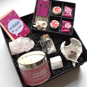 New! Large Luxury Natural Crystals, Candle, Incense Pink Christmas Gift Box Set Gift Wrapped