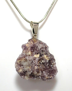 "New! Lepidolite Natural Raw Unique Crystal Stone Pendant & 18"" Silver Plated Chain Necklace"