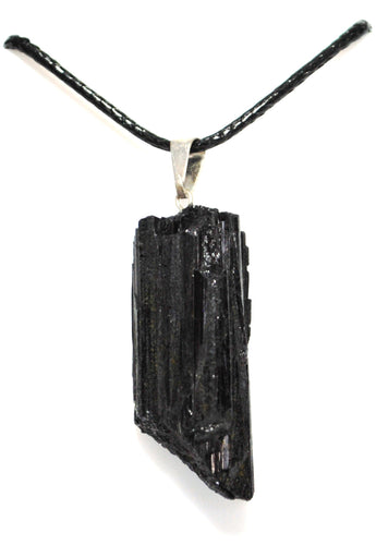New! Natural Raw Black Tourmaline Crystal Stone Pendant & Cord Necklace
