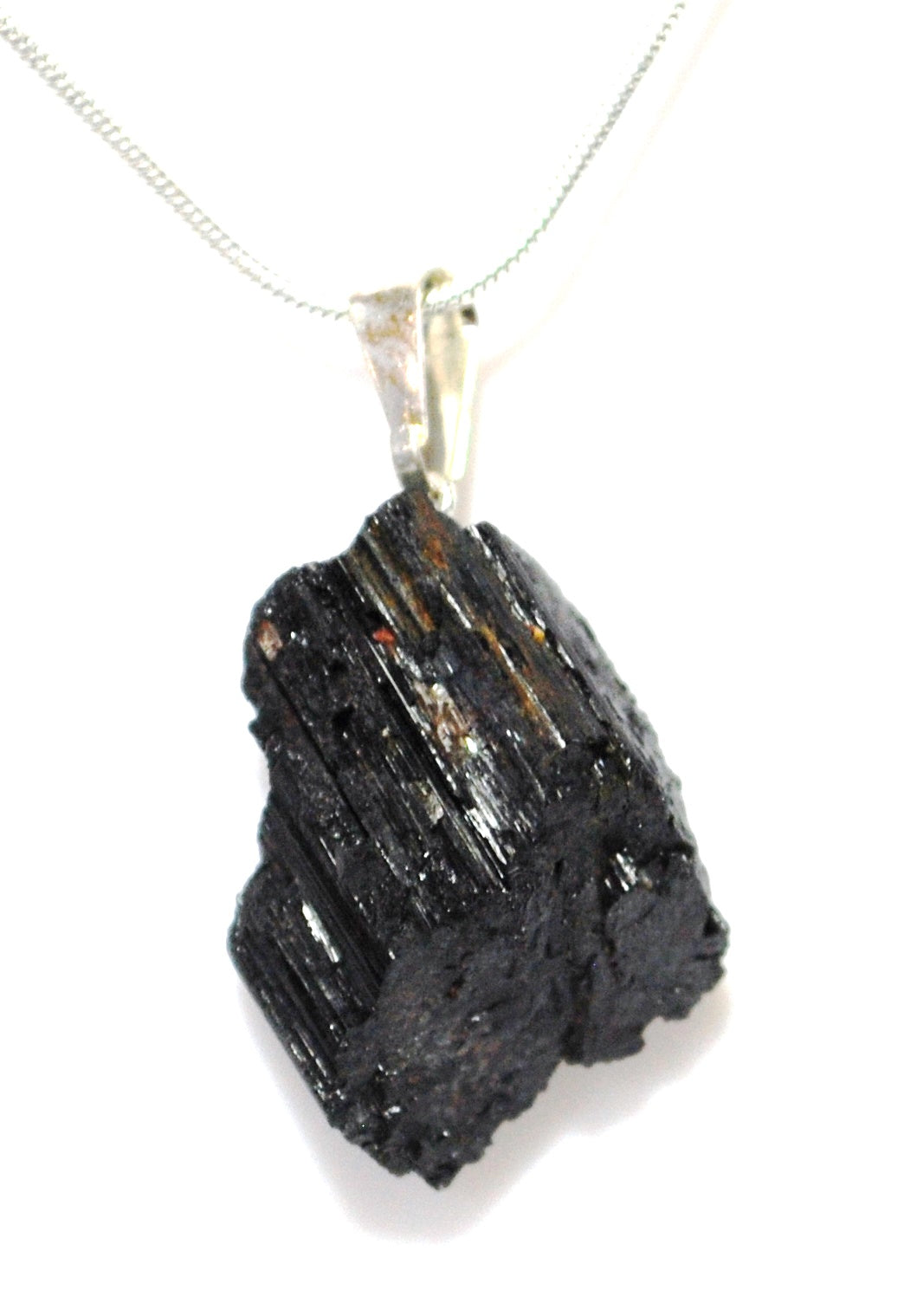 New! Natural Raw Black Tourmaline Crystal Stone Pendant & 18