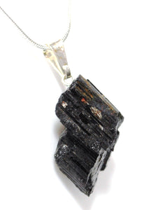 "New! Natural Raw Black Tourmaline Crystal Stone Pendant & 18"" Silver Plated Chain Necklace"