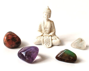 """Meditation"" Tumble Stones & Buddha Set - Krystal Gifts UK"