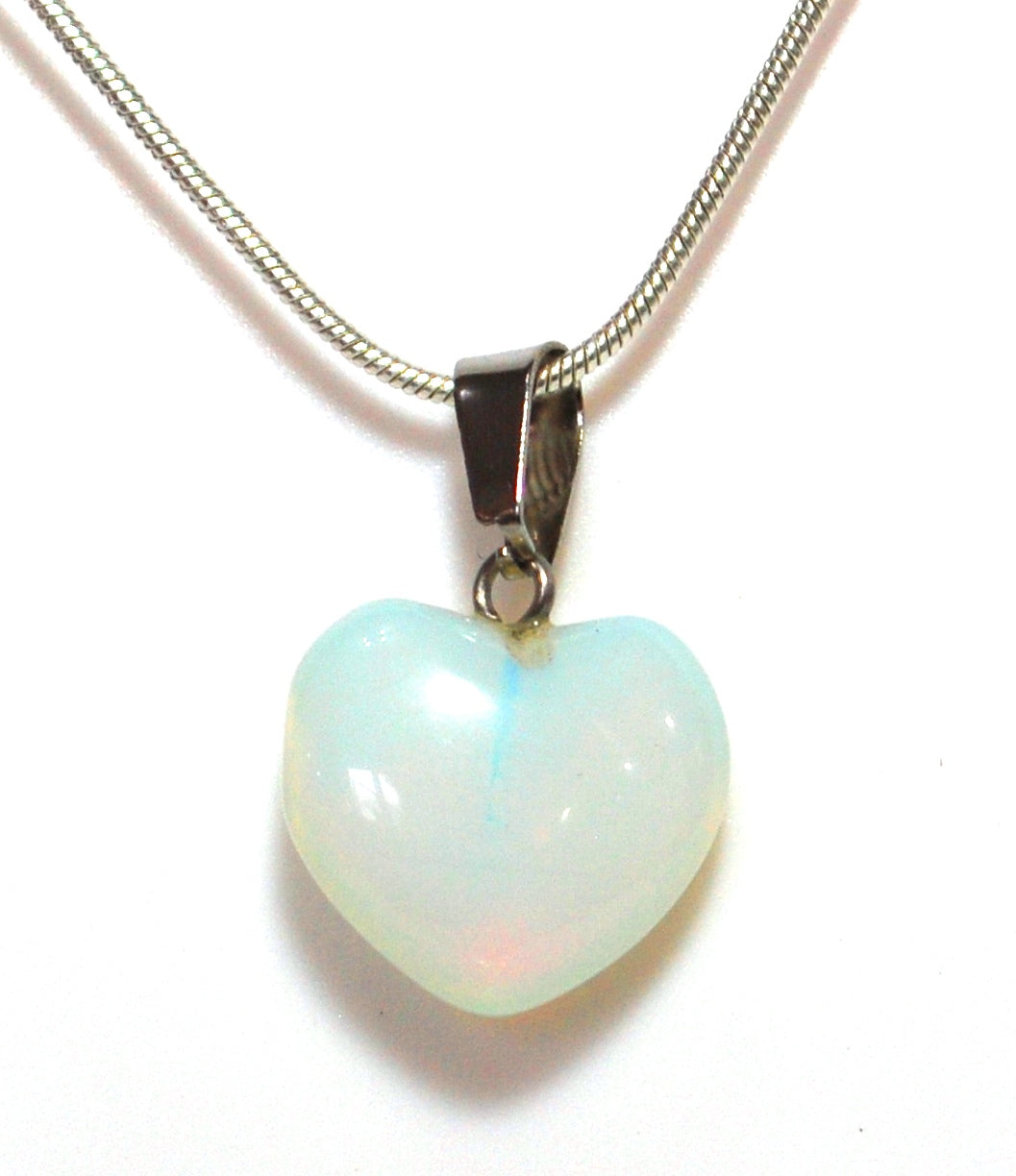New! Opalite Heart Pendant Inc Silver Plated Snake Chain Gift Wrapped