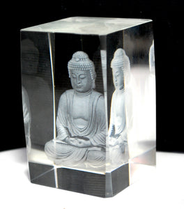 New! 3D Sitting Buddha Glass Paperweight Decorative Gift 460g