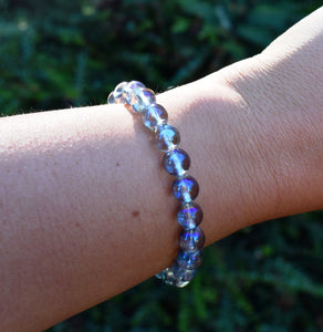 New! Natural Polished Blue Aura Quartz Crystal Stone Beads Bracelet