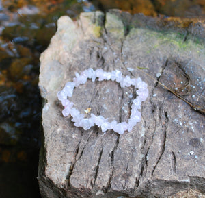 Rose Quartz Crystal Stone Chips Bracelet Gift