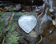 Load image into Gallery viewer, Natural Clear Quartz Crystal 'Master Healer' Polished Heart Palm Stone