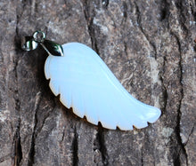 Load image into Gallery viewer, Opalite Crystal Angel Wings Pendant Necklace & Silver Chain