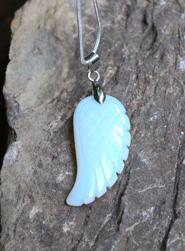 Opalite Crystal Angel Wings Pendant Necklace & Silver Chain
