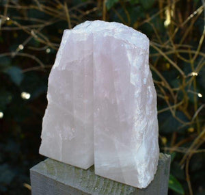 New! Natural & Unique Polished Front Rose Quartz Crystal Stone Hand Crafted Bookends 970g Inc Luxury Gift Box