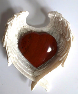 Red Jasper Heart Crystal in Ceramic White Angel Wings Dish Gift Set - Krystal Gifts UK
