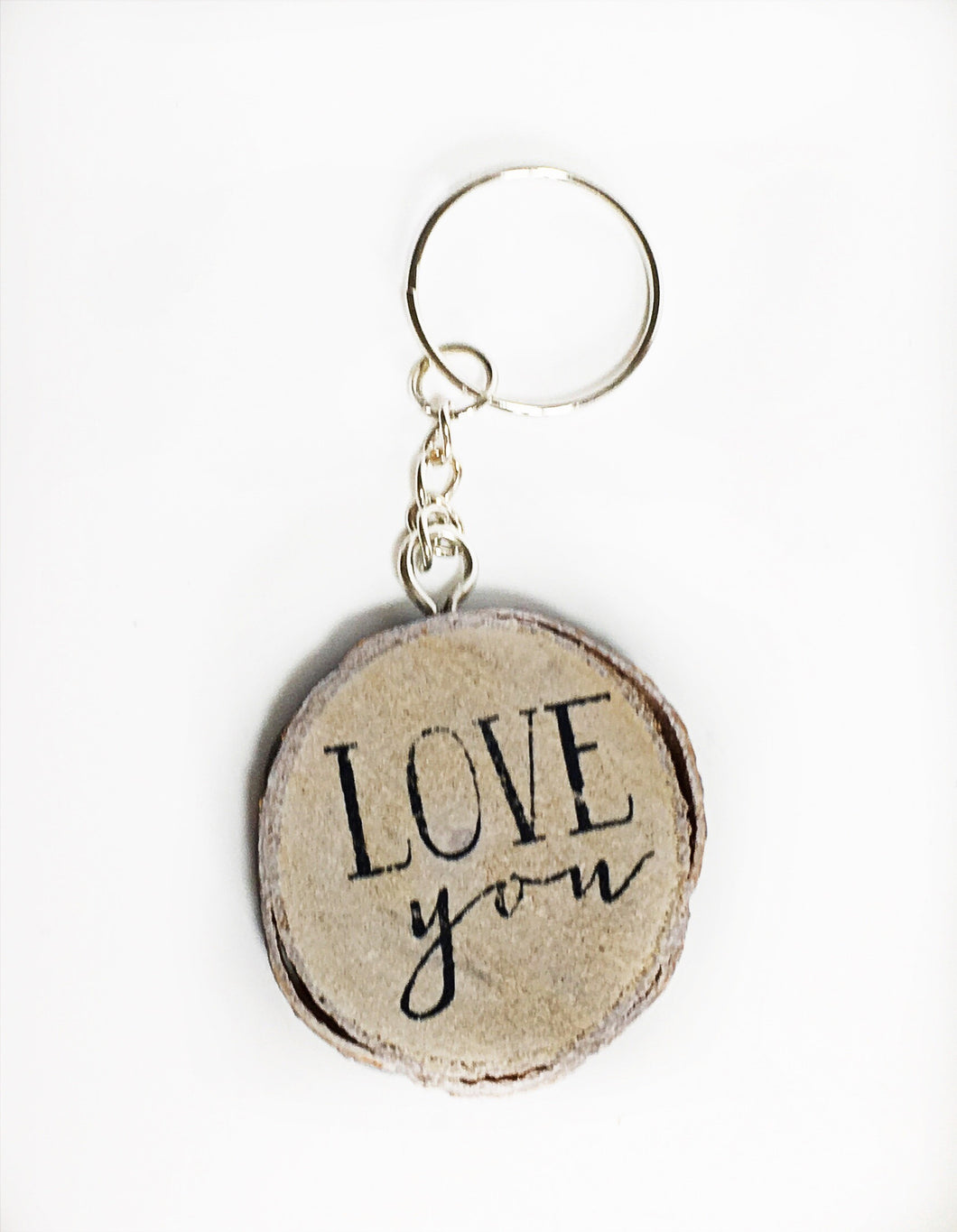 Wooden 'Love You' Keyring - Krystal Gifts UK