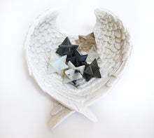 Load image into Gallery viewer, Merkaba Star Angel Wings Dish Calming Gift Set inc Pyrite Tourmaline Smoky Quartz Opalite... - Krystal Gifts UK