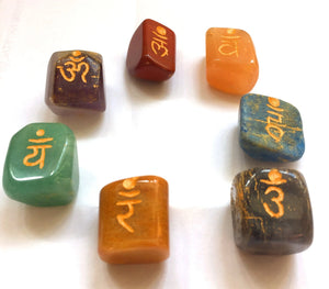 Set of Seven Chakra Healing Crystal Tumble Stones, Hand Engraved With Sanskrit Chakra Symbols - Krystal Gifts UK