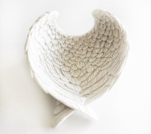 Stunning Large White Angel Wings Dish Bowl Gift Decorative Accessory Present - Krystal Gifts UK