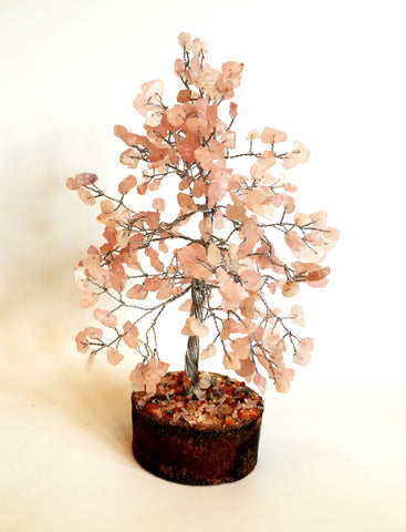 Rose Quartz Crystal Chip Wire Wrapped Gemstone Tree - Krystal Gifts UK