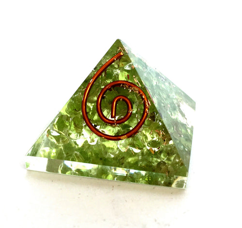 Peridot Crystal Orgone Pyramid - Krystal Gifts UK