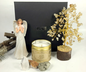 New! Large Luxury Healing Crystals, Angel, Candle Reiju Gold Gift Set Box
