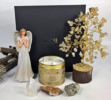 Load image into Gallery viewer, New! Large Luxury Healing Crystals, Angel, Candle 'Christmas' Reiju Gold Gift Set Box