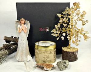 New! Large Luxury Healing Crystals, Angel, Candle 'Christmas' Reiju Gold Gift Set Box