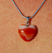 "Load image into Gallery viewer, New! Natural Carnelian Polished Crystal Heart Pendant With 925 Sterling Silver Clasp & 18"" Chain"