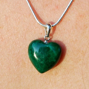 "New! Malachite Polished Crystal Heart 925 Sterling Silver Clasp & 18"" Chain Necklace"