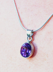 New! Amethyst Polished Natural 925 Sterling Silver Pendant & Necklace