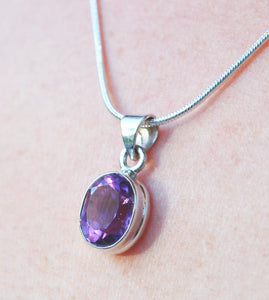 New! Amethyst Polished Natural & Unique 925 Sterling Silver Pendant & Necklace