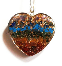 Load image into Gallery viewer, Chakra Orgone Crystal Chips Heart Pendant & Silver Chain - Krystal Gifts UK