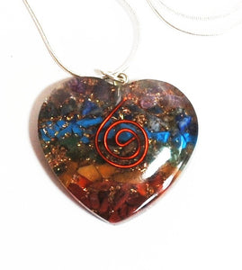 Chakra Orgone Crystal Chips Heart Pendant & Silver Chain - Krystal Gifts UK
