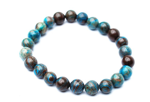New! Chrysocolla Natural Polished Beads Healing Bracelet