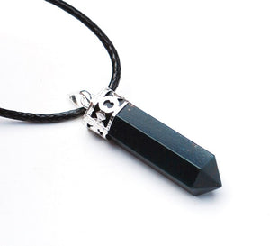 Bloodstone Natural Crystal Stone Faceted Pendant Necklace & Cord