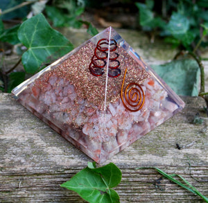Sunstone Crystal Stone Orgone Pyramid Gift Wrapped