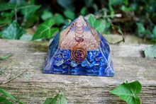 Load image into Gallery viewer, Large Lapis Lazuli Crystal Stone Orgone Reiki Pyramid Gift Wrapped
