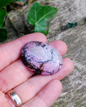 Load image into Gallery viewer, Rhodonite Crystal Palm Stone Gift Wrapped