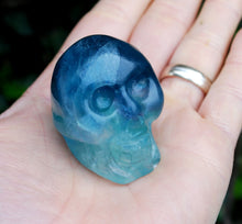 Load image into Gallery viewer, New! Multi Fluorite Natural Crystal Hand Crafted Skull 116g