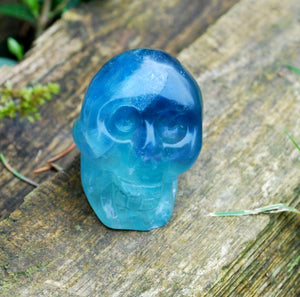 New! Multi Fluorite Natural Crystal Hand Crafted Skull 116g